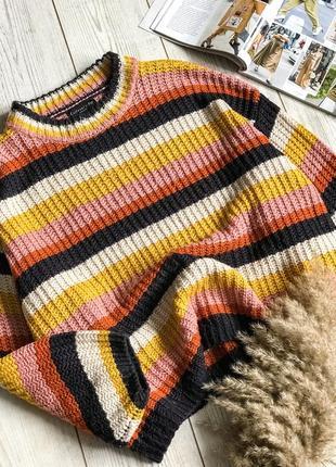 Яскравий оверсайз светр в смужку