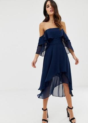 Невесомое шифоновое темно-синее платье