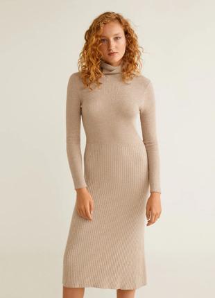 Миди-платье mango в рубчик s-m