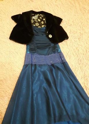 Шикарное вечернее платье на девочку с полушубком