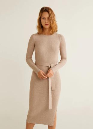 Вязанное платье с поясом mango 46-48