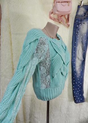 ✅бирюзовый свитерок с гипюром