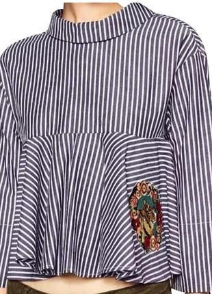Блуза блузка zara укороченая рубашка нарядная нашивка тигр