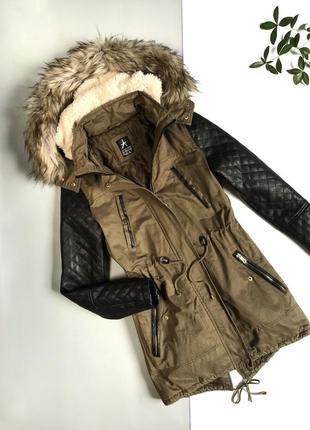 Куртка парка хаки с вставками кожзама от atmosphere