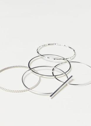 Набор браслетов кольца 5 шт h&m золото серебро