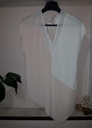Женская блуза zara лето демисезон ассиметричная без рукавов двухцветная