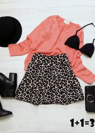 F&f теплая юбка на талию m 46р леопард клеш трапеция осень мини миди складки стильная