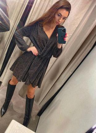 Новое чёрное, серое платье на запах с люрексом