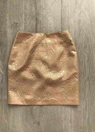 Красивая золотистая золотая юбка из парчи h&m