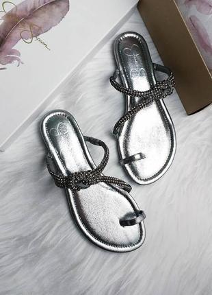 Jessica simpson серебристые сандалии с стразами оригинал из сша