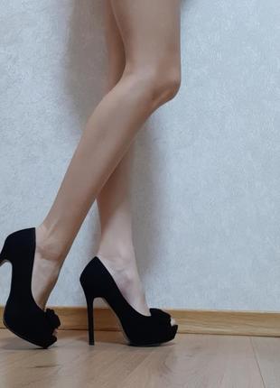 Туфли с бантом замша