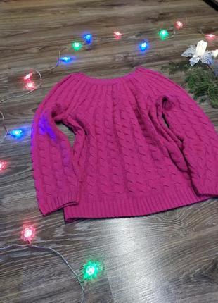 Розовый натуральный свитер под рубашку р 44