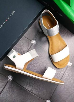 Tommy hilfiger оригинал белые сандалии босоножки на резинках