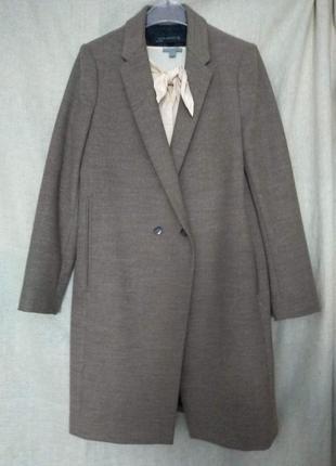 Песочное трендовое, не очень теплое пальто оверсайз, бойфренд, размер l