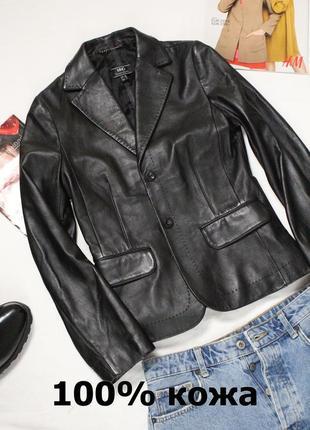 Кожаный пиджак mango м 38 46 размер натуральная кожа черный женский пиджак