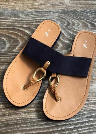 Синие и коричневые босоножки шлепанцы шлепки сандалии сандали с золотой фурнитурой от tu