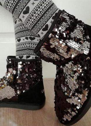 Модные, яркие угги  в пайетках ukala by emu australia