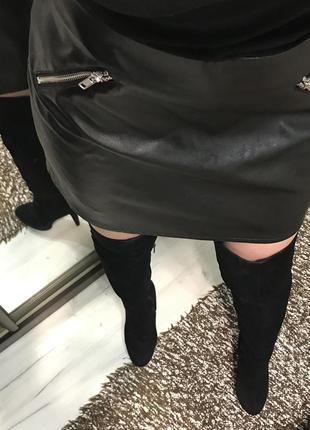 Кожаная юбка трапеция h&m