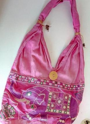 Текстильная розовая пляжная этно сумка мешок слон из индии с одним отделением на пуговице
