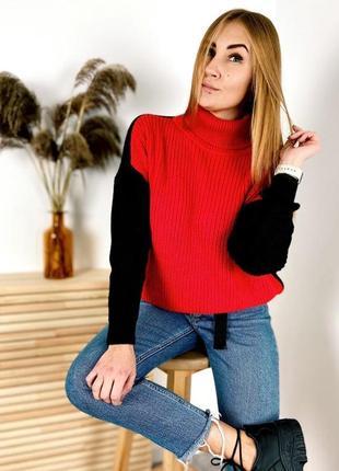 Яскравий теплий светр оверсайз