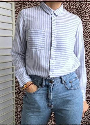 Котонова рубашка в блакитну смужку від new look
