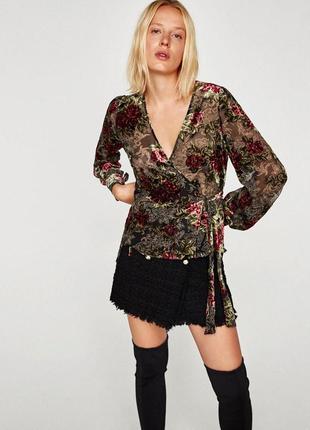 Блуза рубашка в цветочный принт велюровая прозрачная zara