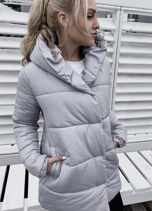 Зимняя серая куртка удлиненная матовая синтепон 300