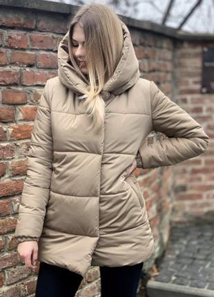 Зимняя бежевая куртка удлиненная матовая синтепон 300
