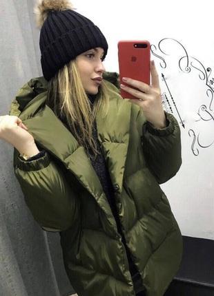 Зимняя хаки куртка удлиненная матовая синтепон 300