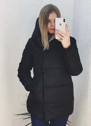 Зимняя чёрная черная куртка удлиненная матовая синтепон 300
