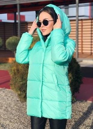 Зимняя куртка удлиненная мятного цвета мята матовая синтепон 300