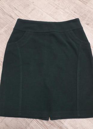 Шерстяная теплая юбка карандаш