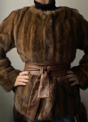Шикарная короткая норковая шуба max mara, с кожаным поясом, размер s-m