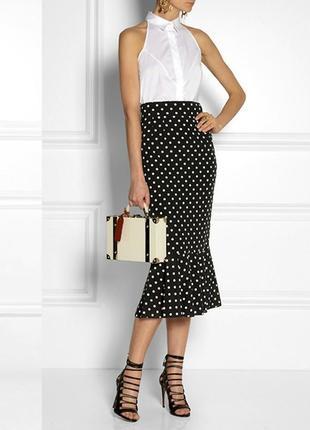 Элегантная вискозная юбка черная в белый горошек, xl.