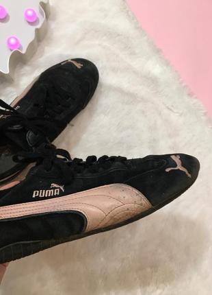 Замшевые черные{розовые} кроссовки пума натур замша