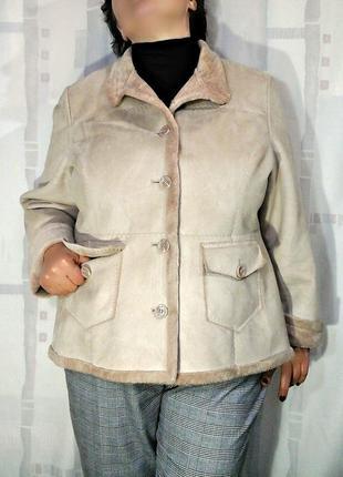 Актуальная  теплая куртка, жакет,  искусственная дубленка