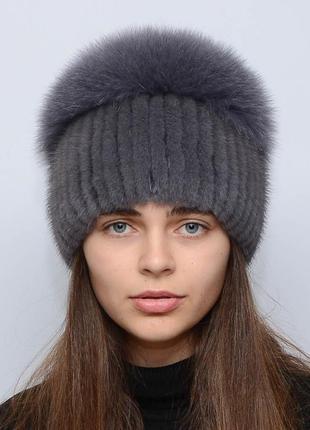 Женская зимняя норковая шапка шарик-бубон,большой(с песцом) ирис