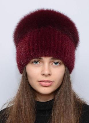Женская зимняя норковая шапка шарик-бубон,большой(с песцом) марсал