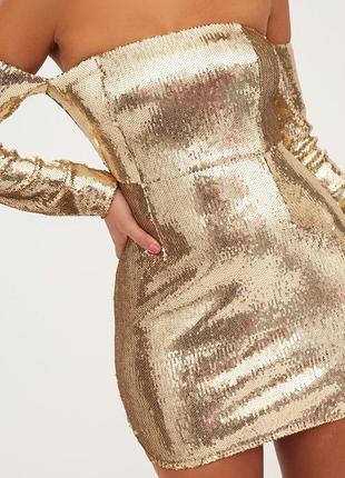 Новогоднее золотое платье в паетку