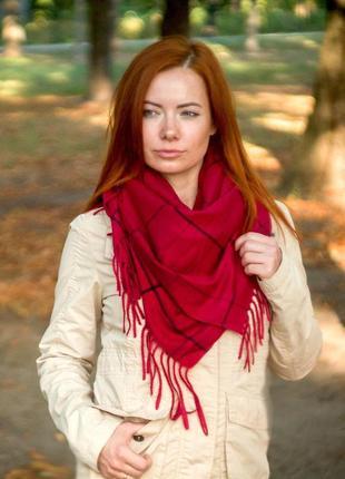 Теплый платок косынка плед вишня темно красный в наличии