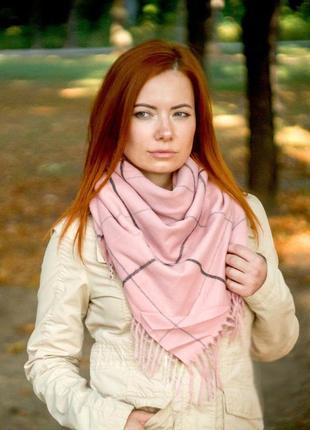Теплый платок косынка плед клетка розовый в наличии