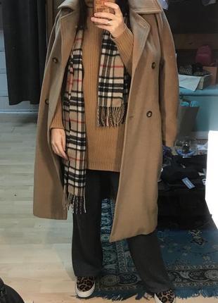Бежевое шерстяное пальто max mara