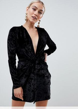 Бархатное платье черное missguided uk8/eu36/s