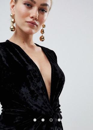 Потрясающее вечернее черное бархатное платье мини missguided