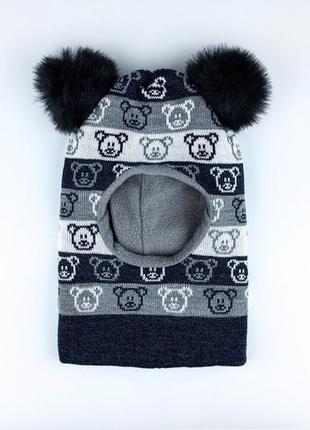 Теплая шапка шлем с помпонами