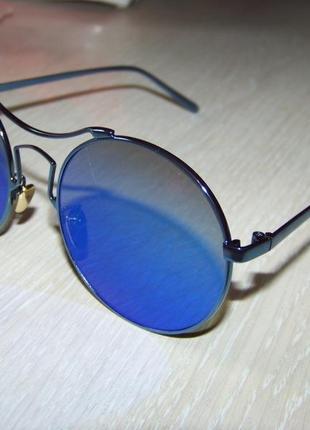 Солнцезащитные очки зеркальные голубые круглые с антирефлексом италия
