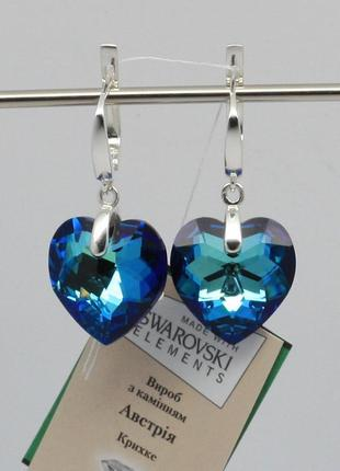 Серебряные серьги сердца с кристаллом swarovski
