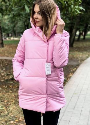 Зимняя розовая куртка удлиненная матовая синтепон 300
