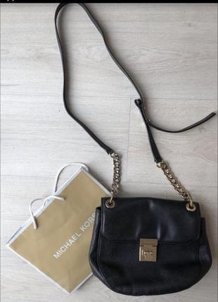 Чёрная кожаная сумка майкл корс оригинал michael kors