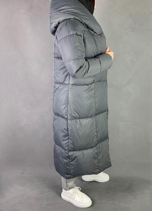 Пуховик одеяло макси зимнее  пальто био пух /скидка !